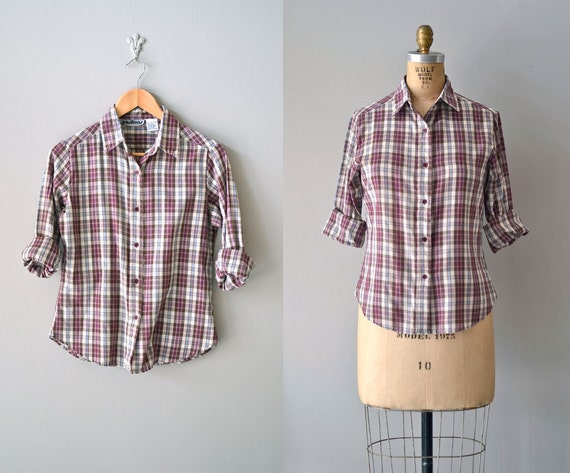 SALE plaid blouse / 80s plaid shirt / vintage plaid shirt