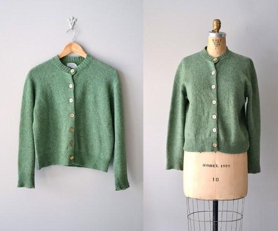 vintage 60s sweater / 1960s cardigan / Irish Moss cardigan