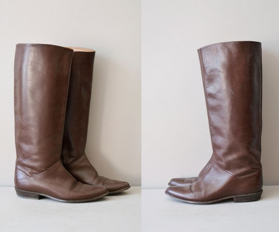 brown leather boots / riding boots / tall leather boots / Crispen boot
