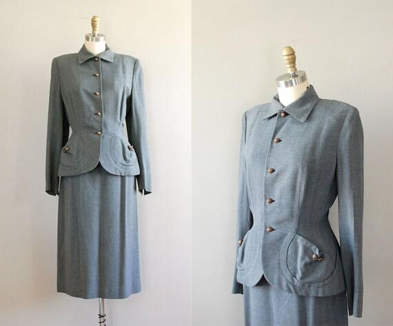 1950s suit / wool 50s suit / Fountainhead gabardine suit