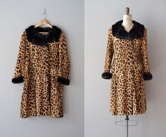 1960s leopard coat / vintage 60s coat / faux fur leopard coat