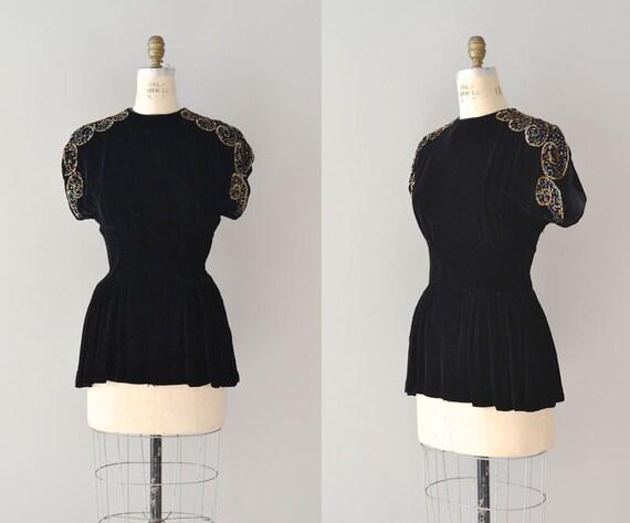 1940s blouse / sequin 40s velvet peplum top / Aphaea tunic