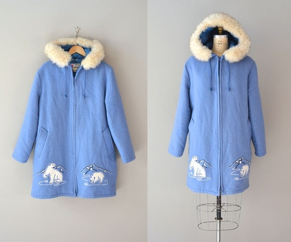 Polar Express parka / nordic blue wool coat / 1970s embroidered wool coat