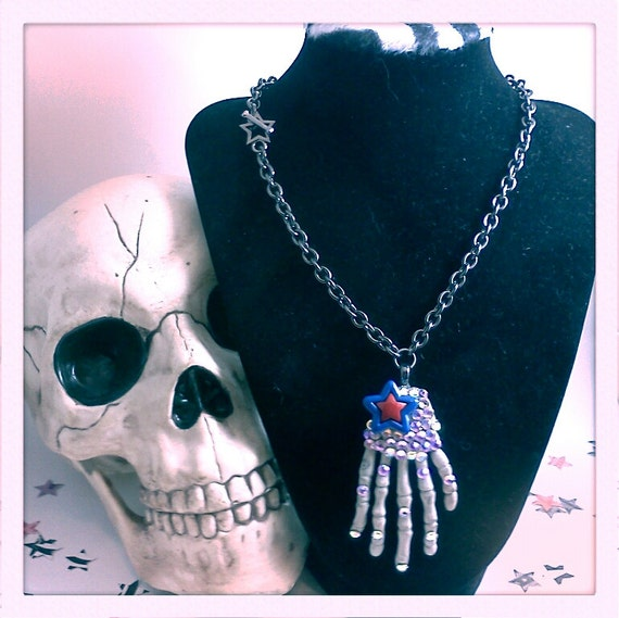Swarovski Rhinestone Encrusted Skeleton Hand Necklace with Star Detail