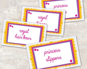 PRINT & SHIP Princess Birthday Jar Labels (set of 8) >> personalized and shipped to you | Paper and Cake