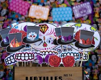 Dia De Los Muertos Day of the Dead Printable PHOTO BOOTH PROPS - Editable Text >> Instant Download <<