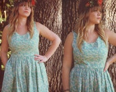 Floral Dress with Hidden Pockets Size 12 - Cotton Dress, Day Dress, Pretty Dress, Retro Dress, Blue Dress, Ready To Ship - SAMPLE SALE