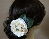 Camille Hair Clip - Cream Ivory Aged White Silk Ranunculus Flower Pine Green Leaves Silver Alligator Clip - Woodland Bridal Boho Vintage