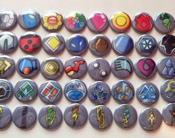 Pokemon Gym Badges Button set of 40