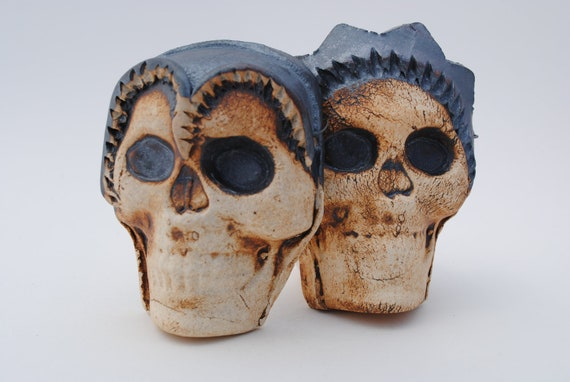 ceramic mask skull sculpture clay art face set of two wall art masks