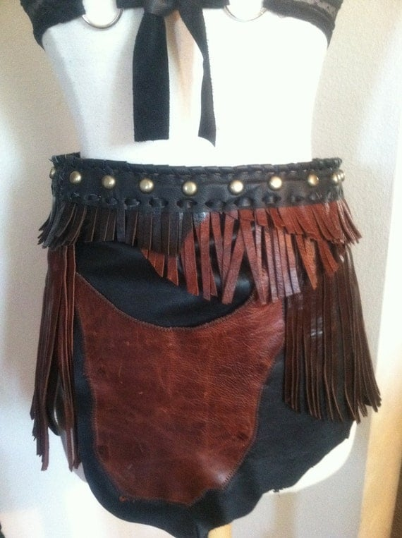 Tribal  Fusion, Fringed, ragged,  hip pocket, leather skirt  all shades of black and brown: Discount Price