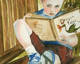 portrait painting portrait of boy reading painting of boy reading art PRINT of boy reading  11x14 wall art Baby nursery decor art print red