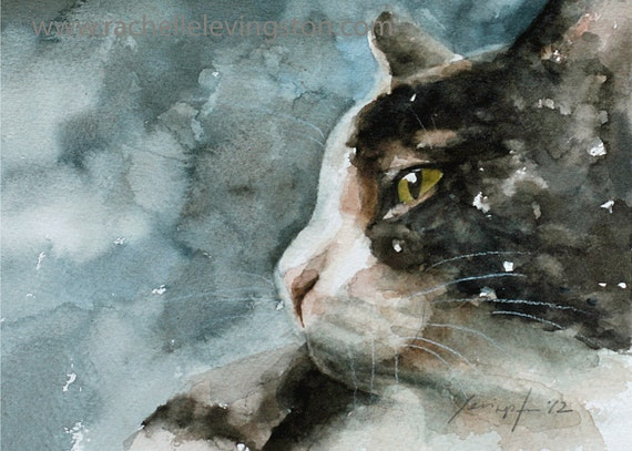 Custom pet portrait custom cat painting Commissioned cat Portrait cat lover gift artwork made to order 11x14 Can make prints cards