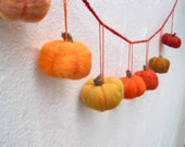 Fall Pumpkins Garland - Needle Felted Wool Bunting Decor - Ombre Orange Halloween Hanging Decoration
