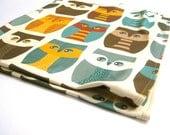 Owls Organic Baby Blanket - XL Knit Eco Friendly Swaddling Blanket Bedding - Modern Brown Fall Woodland Forest Animals