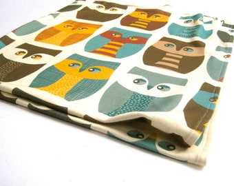 Owls Organic Baby Blanket - XL Knit Eco Friendly Swaddling Blanket Bedding - Modern Brown Fall Woodland Forest Animals
