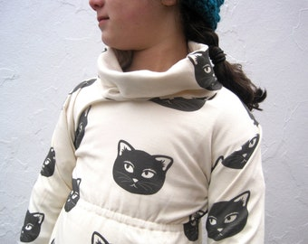 Organic Girls Cat Dress - Cowl Neck Toddler Girls Dress in Black and White - Eco Friendly Kids Fashion