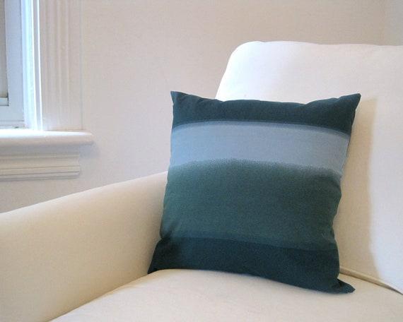 Teal Marimekko PILLOW Cover - Throw Pillow Sham - Accent Cushion in Ombre Striped Sea Blues  - Scandinavian Fall Home Decor (Ready to Ship)