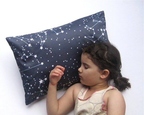 In Etsy's Lookbook - Goodnight Galaxy Pillow Sham Cover - Organic Toddler Pillow Cushion - Baby Home Decor in Dark Night Sky Blue