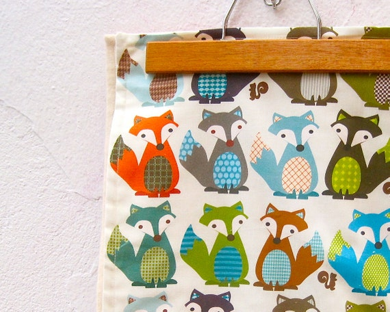 FOX Organic Baby Blanket -  Modern Woodland Forest Animals - Eco Friendly Kids Bedding - Ready to Ship - Last 1