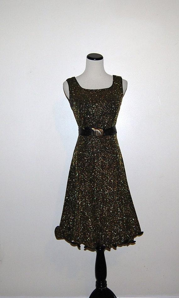 Vintage Dress Black Gold Glitz