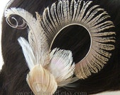Bridal Peacock Fascinator - FAIRE CONTESSA - Bleached Beige Champagne Peacock Feather Fascinator