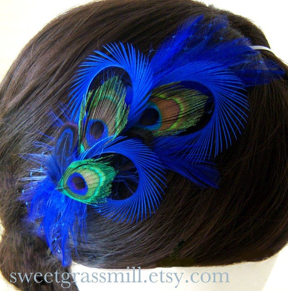 Peacock Headband - BEBE BLEU - Peacock and Royal Blue Horizon Feather Veiling Headband