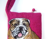 """Custom Needle Felted Pet Portrait on 7.5 x 8"""" Wristlet Bag"""