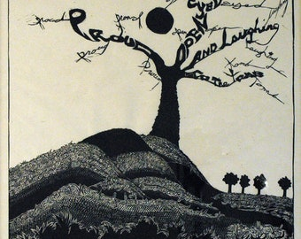An Artist's Pride,  limited edition Black  and White lino block, cut, printed and signed in pencil by the artist