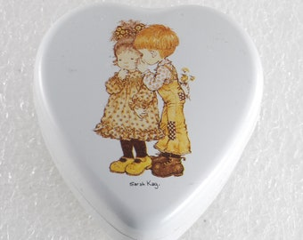 Vintage Heart Shaped Tin Boy Whispering Sarah Kay Valentine Australia Made Switzerland