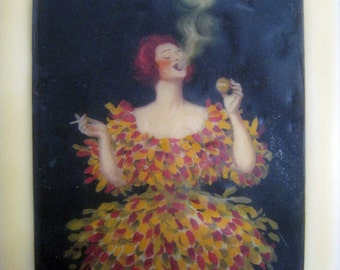 beeswax encaustic art deco 20's French woman smoking