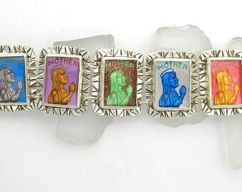 Mother Mary Bracelet, Vintage Statement Link Bracelet, Mother Mary Miraculous Medal Bracelet- custom made to order