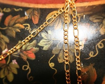 Figaro Brass Chain Golden Color Bulk Jewelry chain by the foot wholesale 10ft