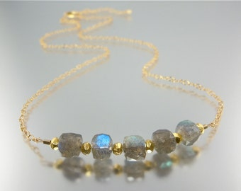 Flashy Labradorite Cluster Necklace