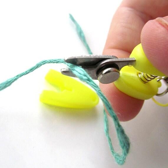 Lemon Yellow Mini Snips - Small Scissors with Lanyard and Ball Chain Keyring