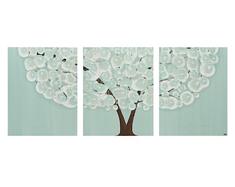 Canvas Art Tree Painting - Blue and Brown Decor Original Art Triptych - Large 50x20 - MADE TO ORDER