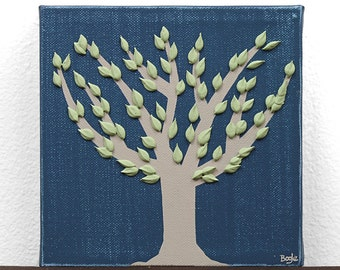 Gift for Dad - Blue and Green Tree Painting - Original Canvas Art - Mini 6x6
