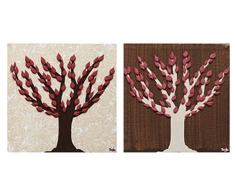 Small Paintings of Autumn Trees -  Canvas Art Set of Two Textured Paintings - Brown and Red - Mini 13x6