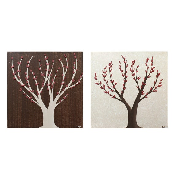 Reserved Listing - Two Paintings of Autumn Trees - Original Acrylic on Canvas Art - Khaki, Brown and Red Textured Wall Art - MADE TO ORDER