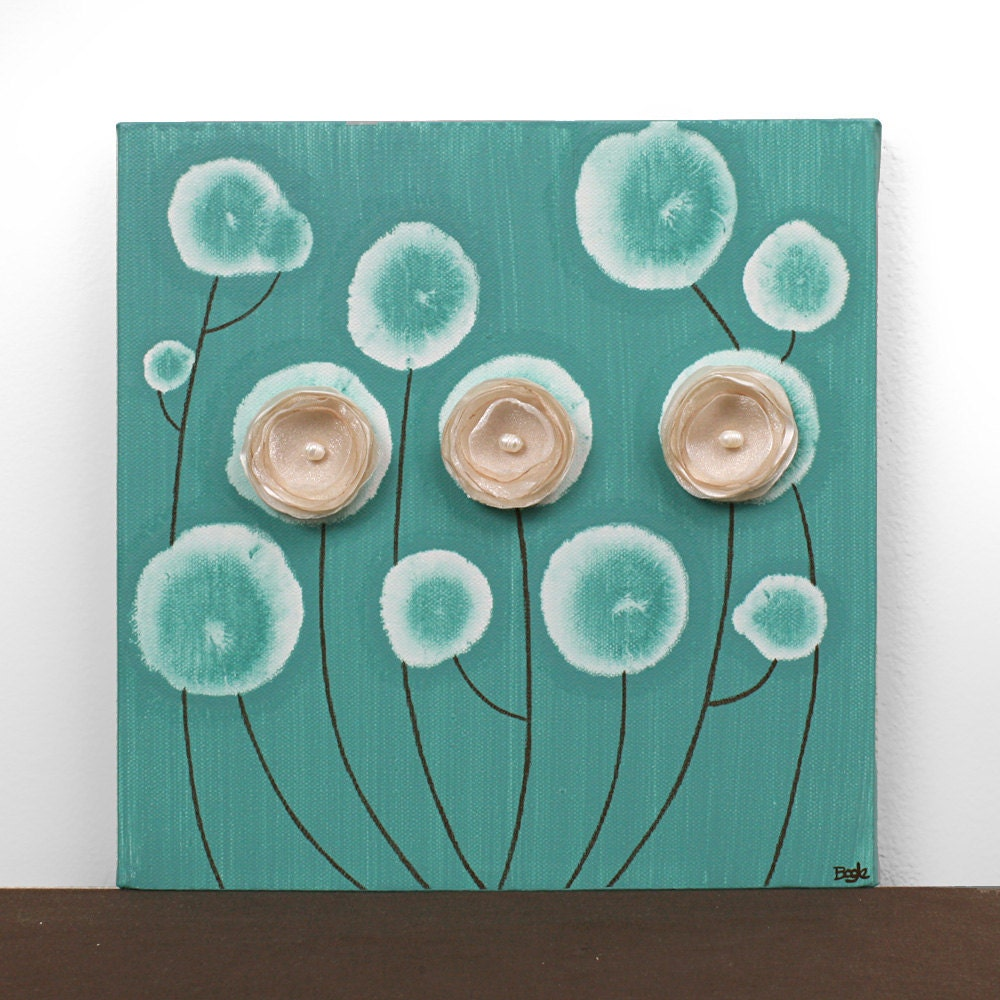 small canvas art flower painting teal home decor small. Black Bedroom Furniture Sets. Home Design Ideas
