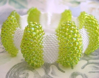 Bumpy Peyote Bracelet in Chartreuse Green and White Pearl Beadwork (Made To Order)