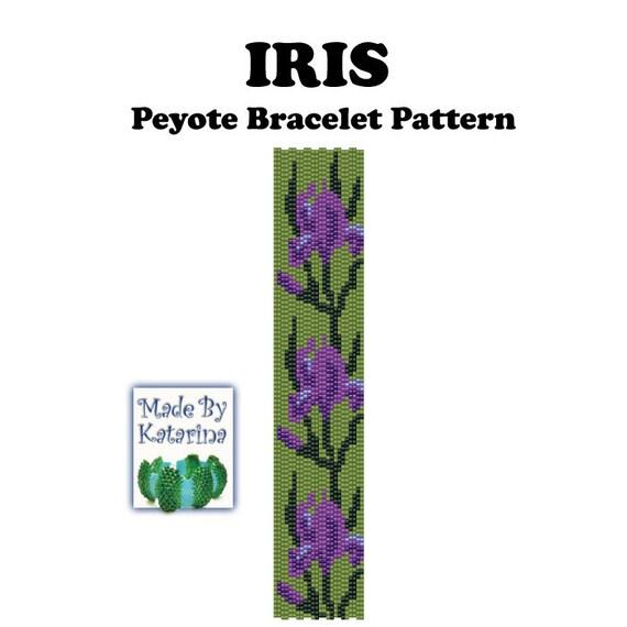 Peyote Pattern - Iris - INSTANT DOWNLOAD PDF - Peyote Stitch Bracelet - Two Drop Even Peyote - Peyote Flower Pattern - Peyote Bracelet