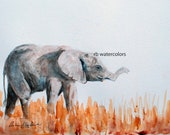 Gift for boy animal watercolor painting ORIGINAL watercolor painting Elephant original child room decor baby nursery decor baby shower gift