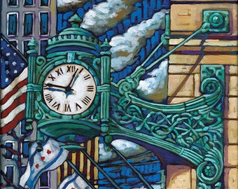 Marshall Fields Clock on Chicago's Michigan Ave 5x7 Art Print by Anastasia Mak