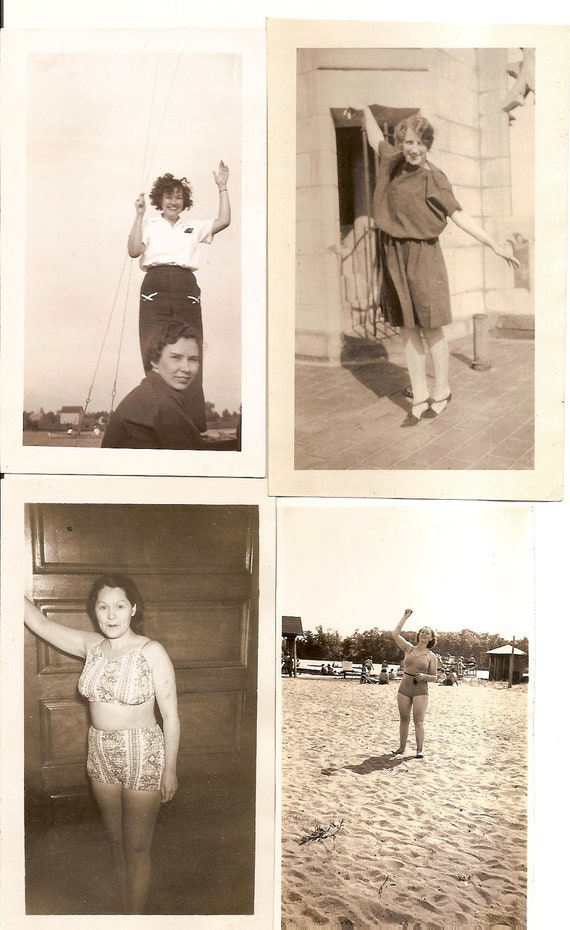 4 vintage photo lot Pretty Woman Swimsuit Dress Arm in Air Wave