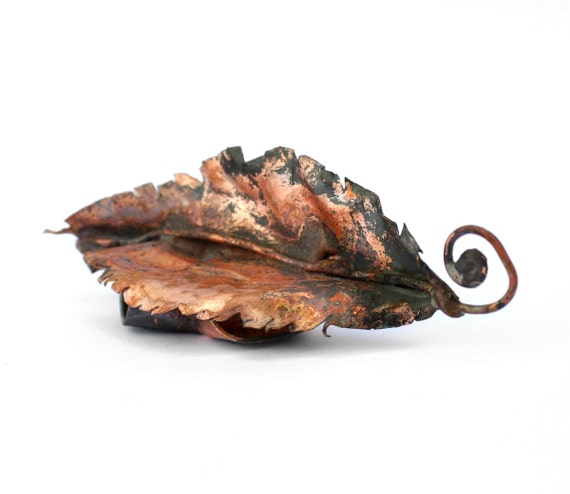 Handmade Copper Incense Holder - Rose Leaf Design with Curled Handle - READY TO SHIP
