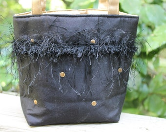 Black Silk Evening Bag with Gold Embroidered Dots and Eyelash Trim