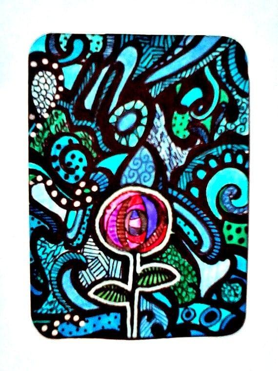 ACEO Original Illustration ATC Blue Flower Pattern 7 card draw