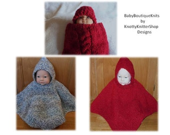 Baby Cocoon & Hat Set AND Poncho Patterns