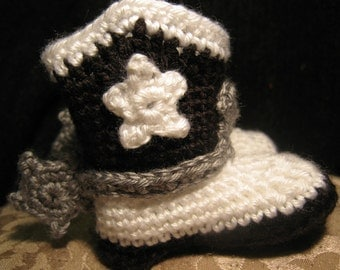 Hand Crocheted Baby Cowboy or Cowgirl Boots with Spurs Black n White